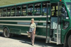 Tour bus into Denali National Park