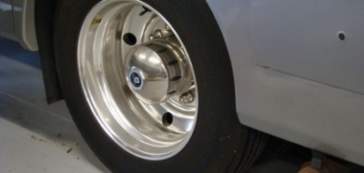 Rear tire on white vehicle