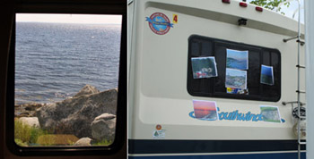 At left, the view of Peggy's Cove from our rear window; at right, the view of Chet's pictures.