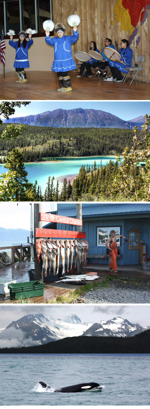 From Top, Athabaskan Dancers, Emerald Lake near Skagway, Salmon Catch, An Orca Swims By