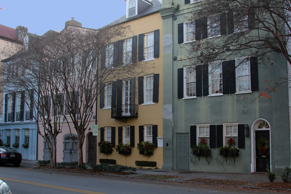 A section of Rainbow Row, a street near the Charleston, South Carolina, waterfront that features colorful facades.