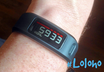 "Here's the Vivofit fitness band in black. ""Only"" 5933 steps to reach my daily goal! That sounds like a lot, but it's achievable. (Click the pic for more info.)"