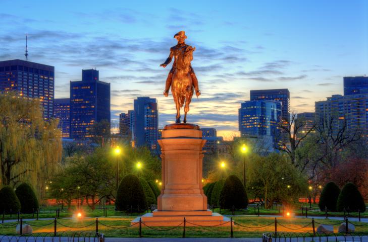 Boston Public Garden statute lit at night