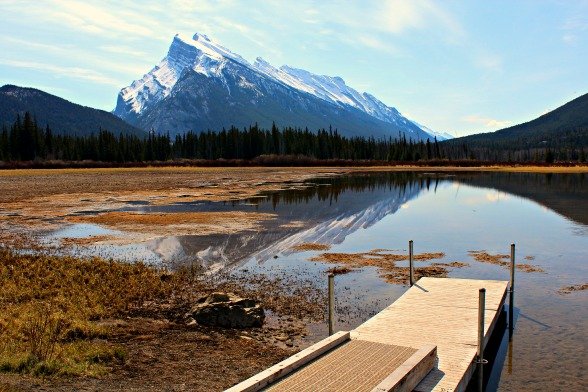 Mt. Rundle, a prominent wedge-shaped peak, overlooks the townsite of Banff © Rex Vogel, all rights reserved
