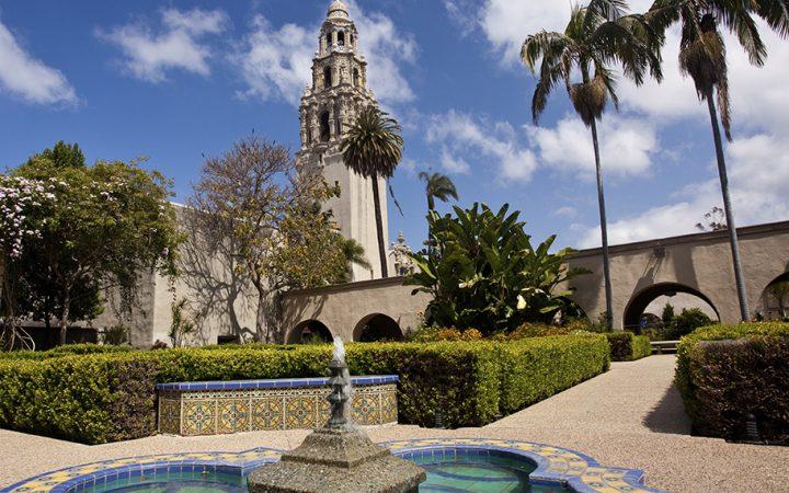 California Tower from Alcazar Gardens in Balboa Park.