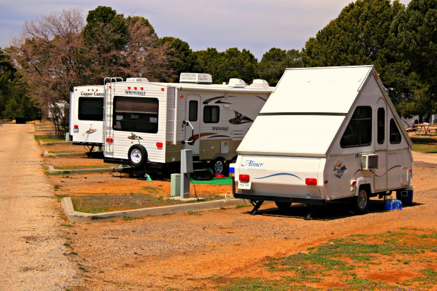 Pop-up camper and travel trailer camped at Canyon Gateway RV Park, Williams, Arizona © Rex Vogel, all rights reserved
