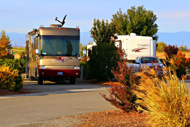 Diesel Pusher Class A motorhome and fifth wheel trailer at RV Park at Rolling Hills Casino, Corning, California. © Rex Vogel, all rights reserved