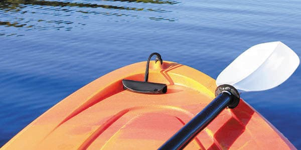 The nose of a kayak pov the paddler.