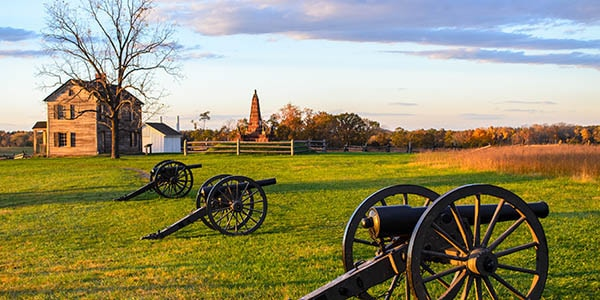 Three cannons on a lush grass lawn point toward a golden field.