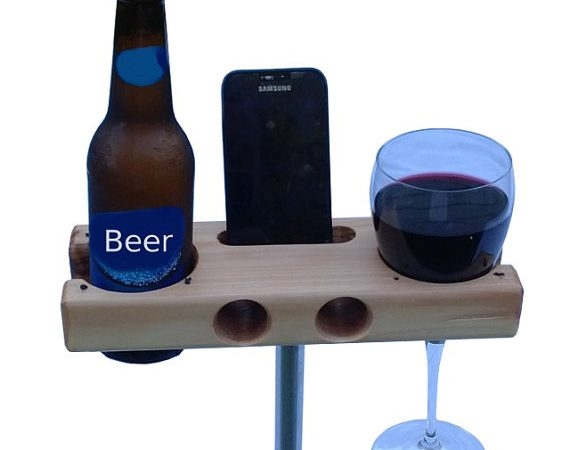 Campsite beer bottle, wine glass, and iPhone holder.
