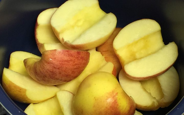 Close up picture of about 8 apple slices
