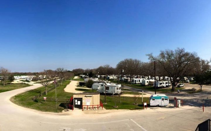 Aerial view of RV park with blue skies