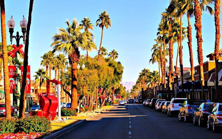 Located in Palm Desert, the world famous El Paseo Shopping District features over 300 world-class shops, clothing boutiques, art galleries, jewelers, and restaurants lined along a picture-postcard floral and statue-filled mile. © Rex Vogel, all rights reserved