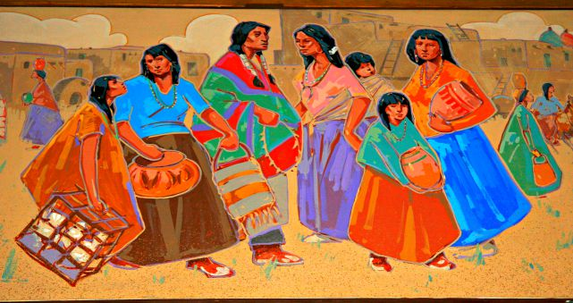 A mural in Santa Fe's historic La Fonda on the Plaza depicting Pueblo life. © Rex Vogel, all rights reserved