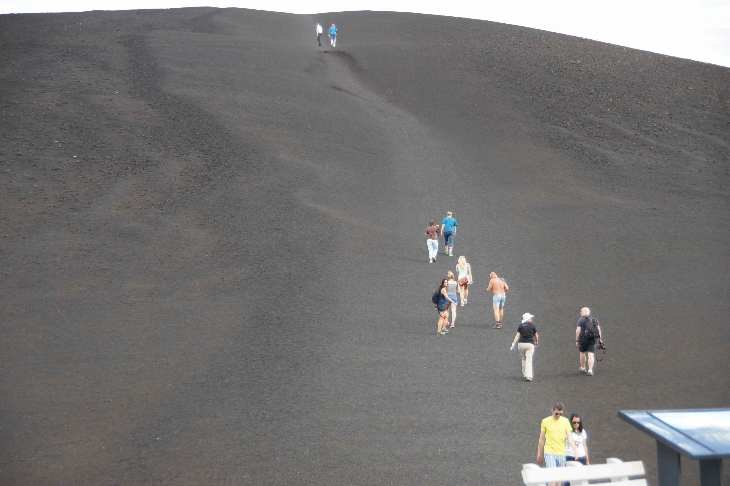 RV parks in the Pacific Northwest —Hikers crest an ash dune.