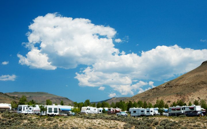 Vacationing in a recreational vehicle in the Rocky Mountains.