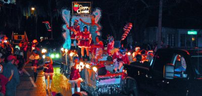 Berry Queens Float at Blue Magic on Main Christmas Parade
