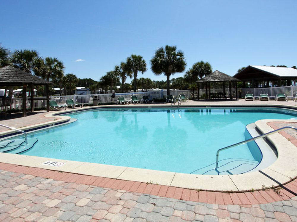 Carrabelle Beach RV Resort pool on sunny day
