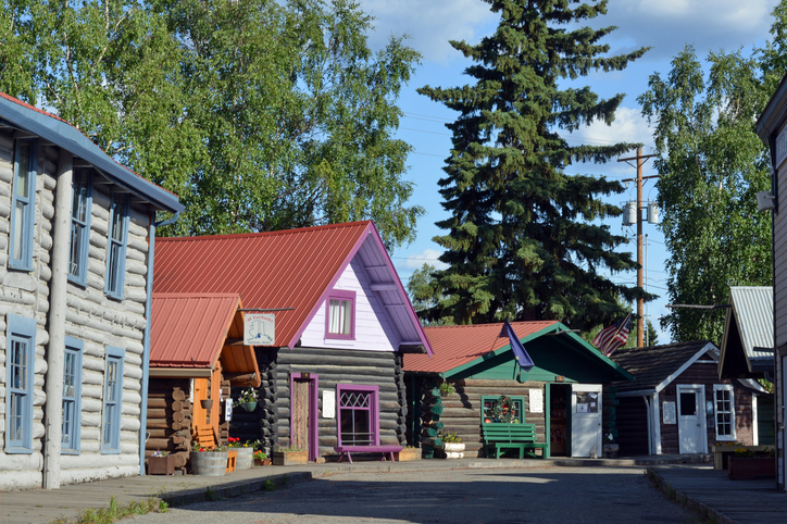 Colorful log cabins and houses.