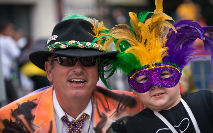 Mardi Gras at Houma County - father and son
