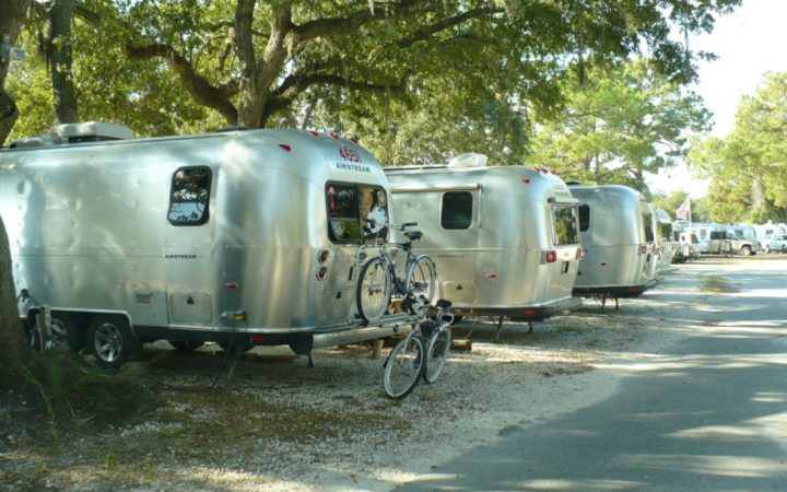 River's End Campground - Airstream Row in shade with bikes