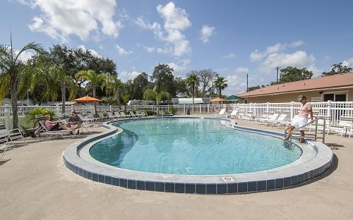 Full-size heated swimming pool and wading pool at Daytona Beach RV Resort