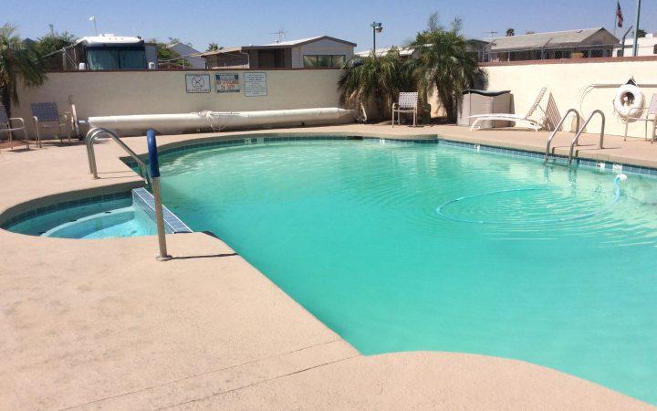 Snowbirds at Villa Alameda RV Resort enjoy the pool