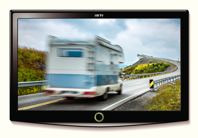 rv television with motorhome driving