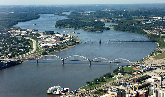 Aerial view of Mississippi River