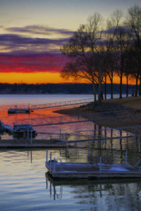 Cedar Oaks RV Park - view of sunset at Grand Lake O' the Cherokees