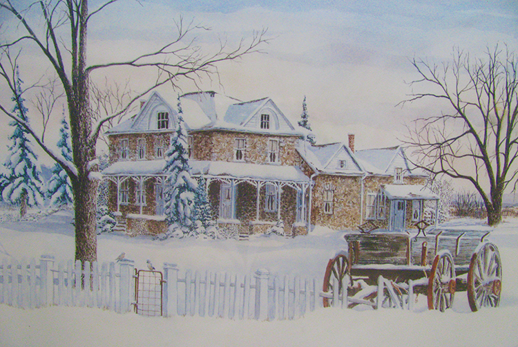 Campark Resorts - painting of house in winter