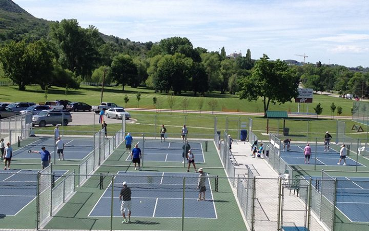 RV travelers play pickleball