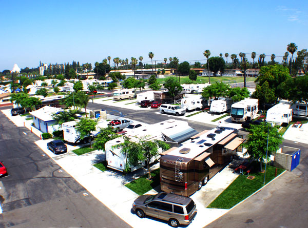 Anaheim RV Park - aerial view of RV sites
