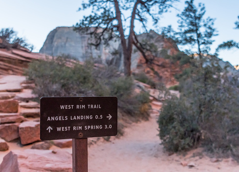 Zion National Park - sign for Angels Landing Hiking Trail