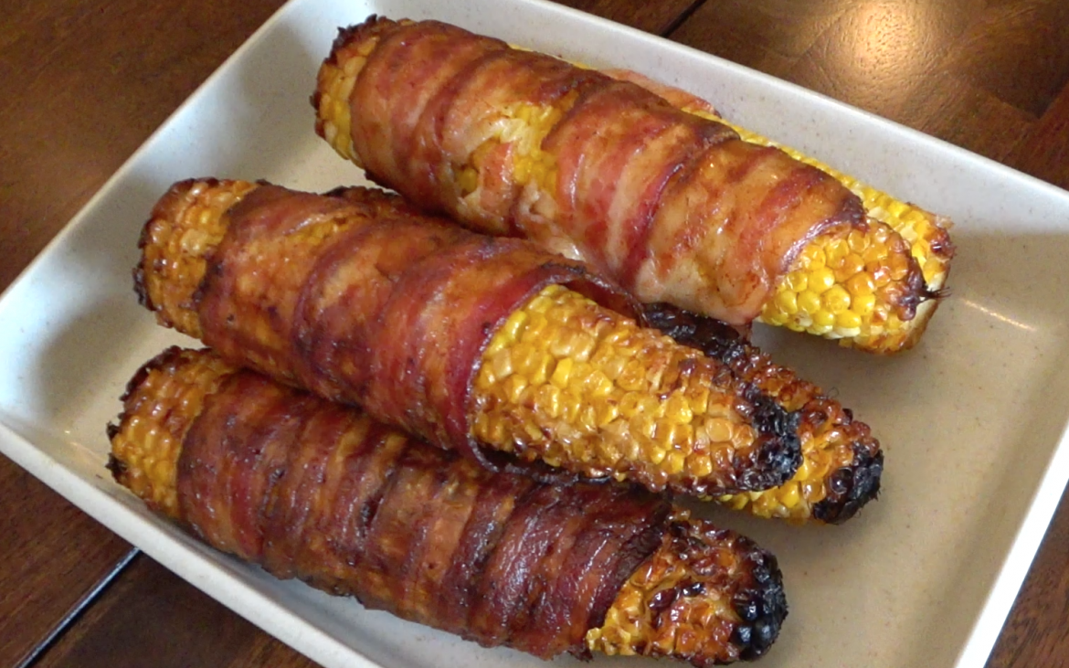 finished Grilled bacon wrapped corn