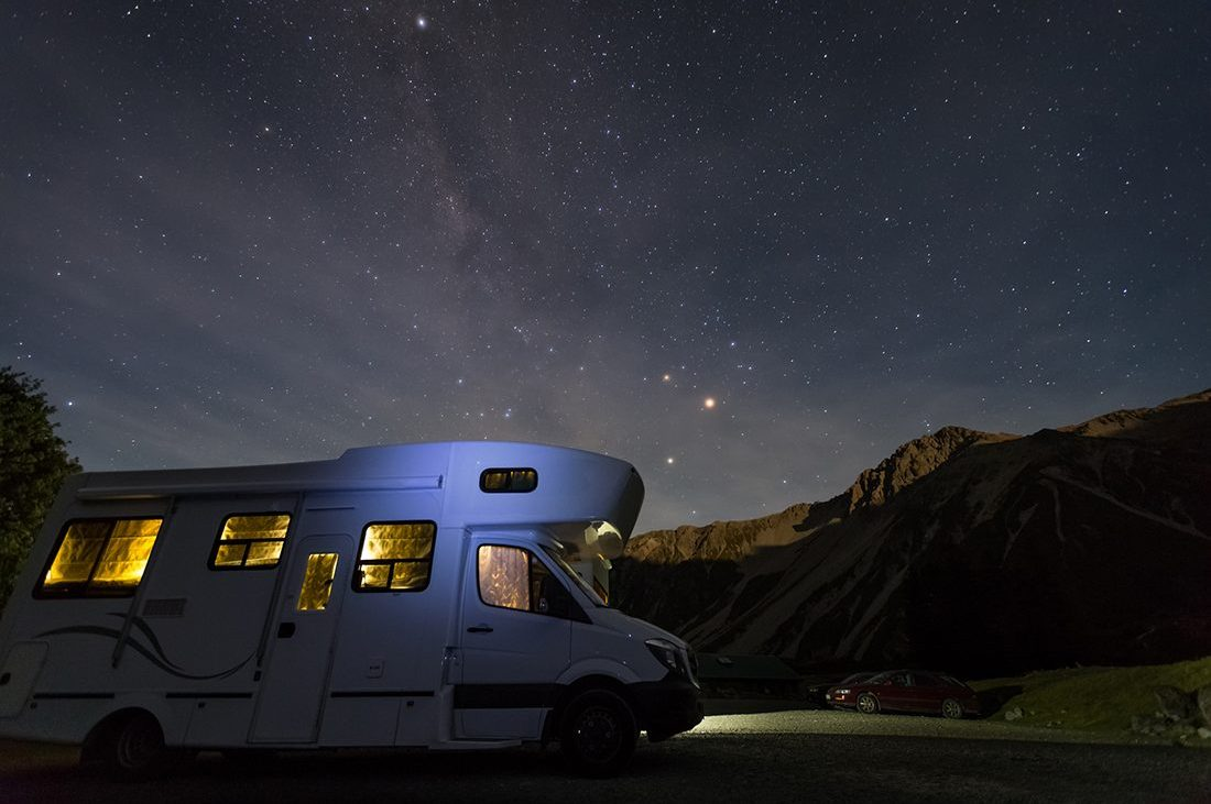 campervan at White Horse campground with night sky background