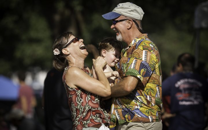 Festival Acadiens et Creoles - Celia Thibodeaux, left, dances with her nephew, Jack Tauzin and her brother Lawrence Thibodeaux during Festival Acadiens et Creoles at Girard Park in Lafayette, La.