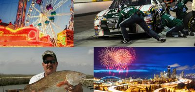 Collage of four images of man with fish, fireworks, nascar and ferris wheel
