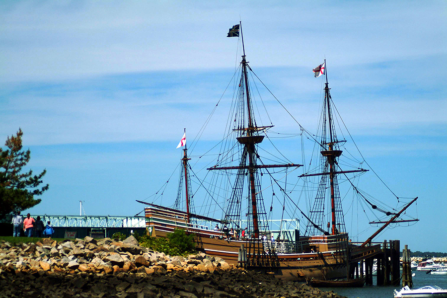 Plymouth County Mayflower ship on sunny day