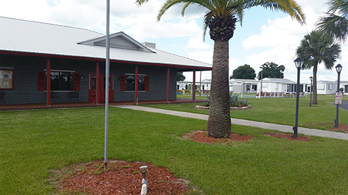Little Willies RV Resort building and grassy area with palm trees