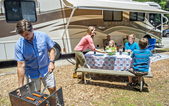 Stone Mountain Park Campground - family lunch outside the RV