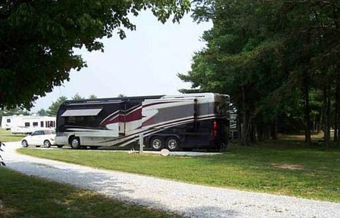 Large motorhome parked in RV site among trees