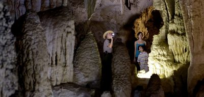 People walking in caves at Carlsbad Caverns National Park