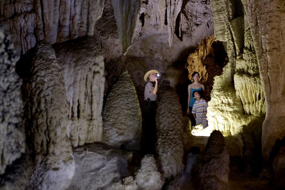 People walking in caves at Carlsbad Caverns National Park