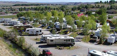 Aerial shot of RV park in Lander, Wyoming