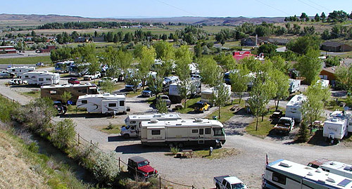 Aerial shot of RV park in Lander, Wyoming