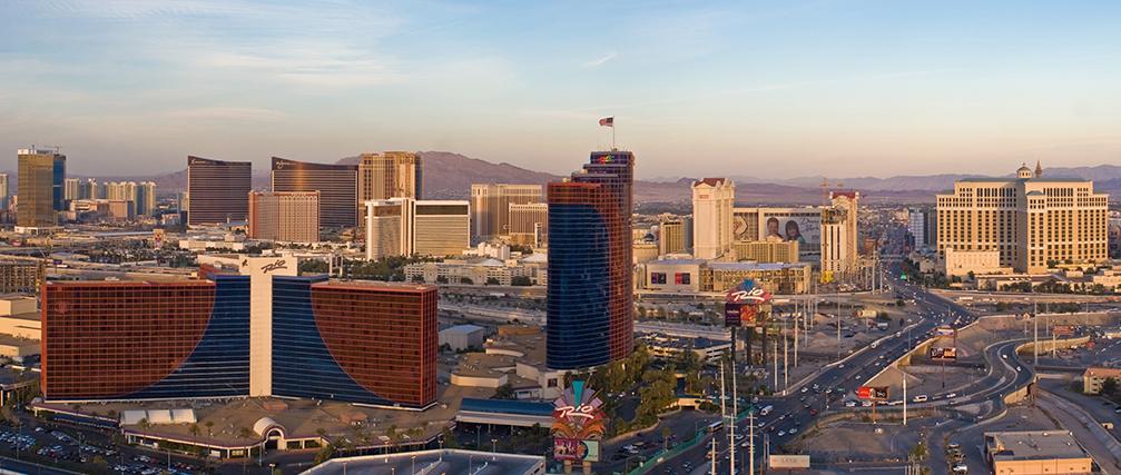 High-rise hotels line the Vegas strip