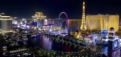 Las Vegas strip at night, lights glaring