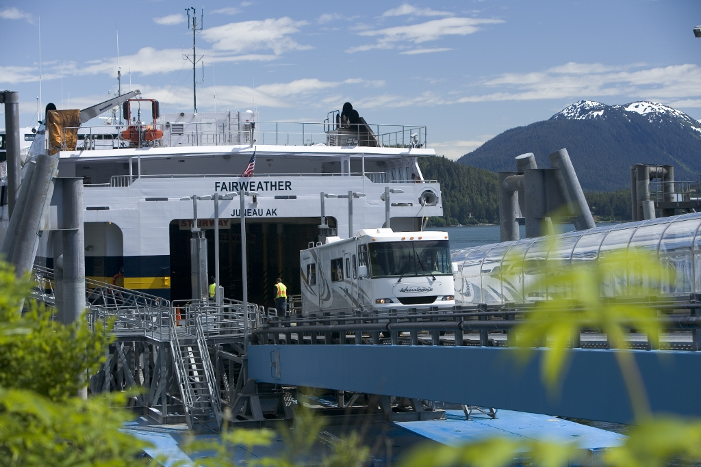 Alaska Marine Highway - ferry offloading RV