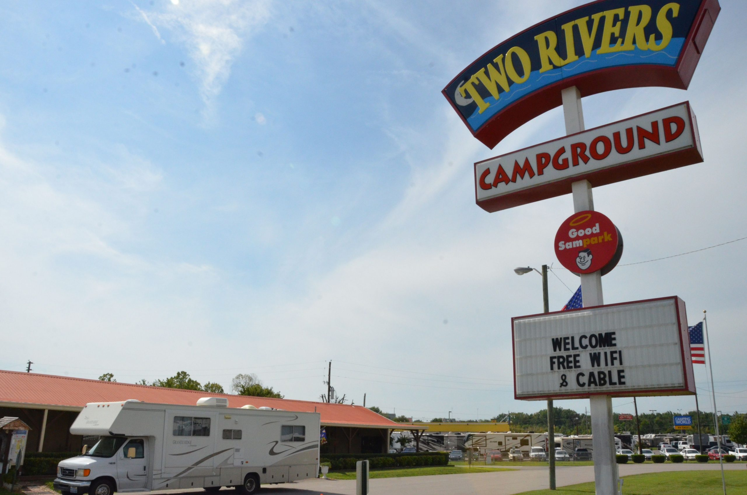 Two Rivers Campground sign